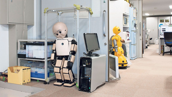 Prototype humanoid robots at the Intelligent Robotics Laboratory in Osaka, Japan