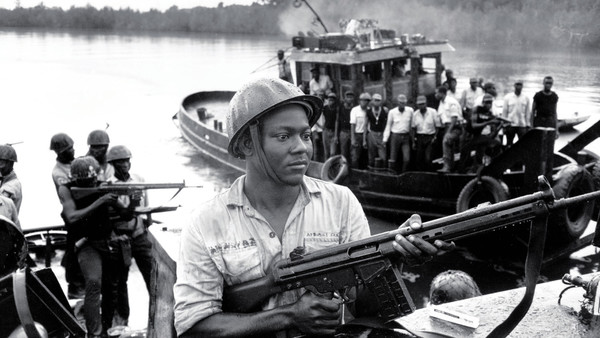 Biafran soldiers on army tugs in 1968