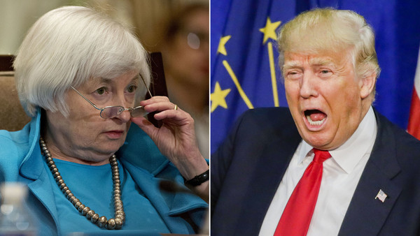 Composite picture of Janet Yellen and Donald Trump