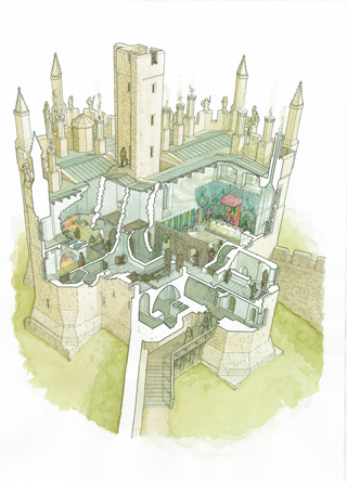 Cutaway diagram of the Warkworth Castle rain-channelling roofs