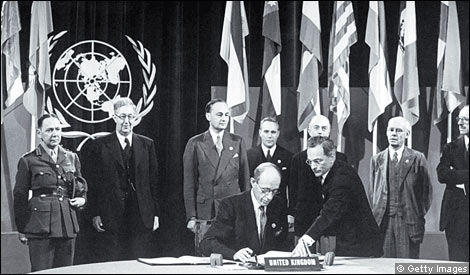 Lord Halifax signs the UN charter in San Francisco in June 1945