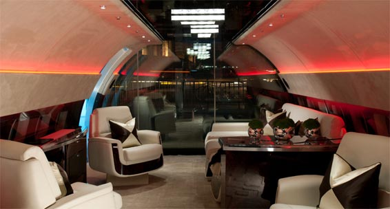A luxury aircraft cabin