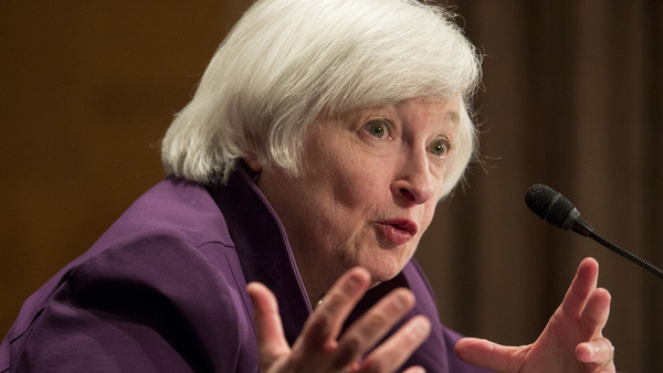 """Janet Yellen, chair of the U.S. Federal Reserve, speaks during her semiannual report on the economy to the Senate Banking Committee in Washington, D.C., U.S., on Thursday, July 16, 2015. Yellen said the Federal Reserve is """"highly focused"""" on the risks of raising interest rates too early. Photographer: Drew Angerer/Bloomberg *** Local Caption *** Janet Yellen"""