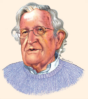 Illustration by James Ferguson of Noam Chomsky