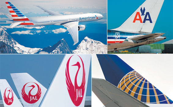 Clockwise from top left: American Airlines' new livery; AA's former design; United and Japan Airlines' latest liveries