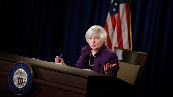 "Federal Reserve Chair Janet L. Yellen speaks during a press briefing at the Federal Reserve June 17, 2015 in Washington, DC. The Federal Reserve left its benchmark interest rate unchanged at near zero Wednesday, while describing US economic growth as ""moderate"" after the winter slowdown. But predictions made by the individual participants in the Fed's monetary policy meeting indicated most expect the federal funds rate to rise above 0.5 percent by year-end. The Federal Open Market Committee trimmed its economic growth forecast for 2015 to just 1.8-2.0 percent, down from March's 2.3-2.7 percent outlook, to account for the unexpected contraction in the first quarter of the year. AFP PHOTO/BRENDAN SMIALOWSKI (Photo credit should read BRENDAN SMIALOWSKI/AFP/Getty Images)"