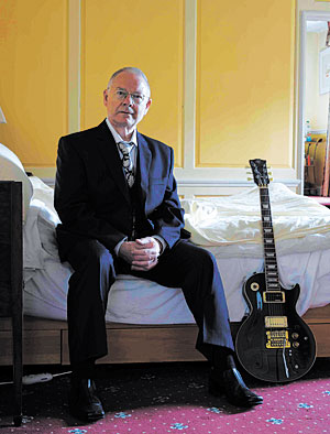 Robert Fripp, pictured at home