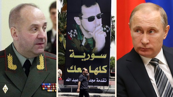 General Igor Sergun, left, was asked by Vladimir Putin to assess whether Bashar al-Assad would be willing to step aside. The answer was an emphatic no