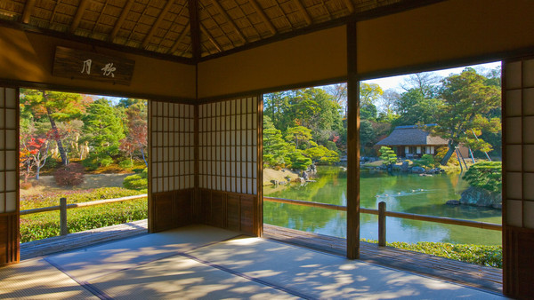 An interior view of the Gepparo tea pavilion in the Katsura Imperial Villa