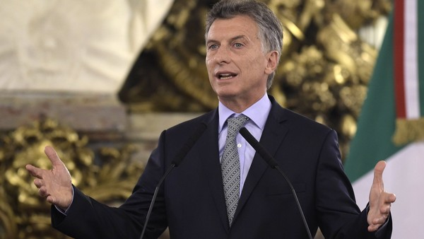 Argentina's President Mauricio Macri talks to the press after a working meeting with Italy's Prime Minister Matteo Renzi at Casa Rosada in Buenos Aires on February 16, 2016. Renzi is on two-day official visit to Argentina. AFP PHOTO / JUAN MABROMATAJUAN MABROMATA/AFP/Getty Images