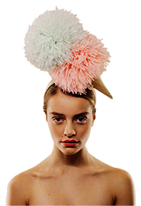 Ice-cream pompom hat by Awon Golding