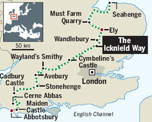 Map showing The Icknield Way