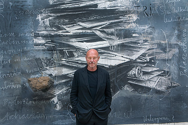 Anselm Kiefer in front of his work 'Ages of the World' (2014)