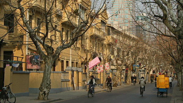 A tree-lined avenue in the former French Concession contrasts with the skyline that Shanghai is now best known for
