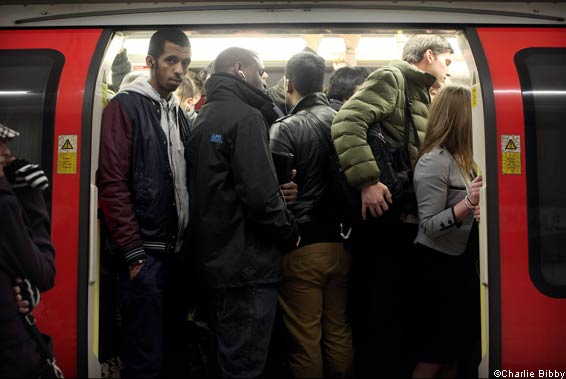 Passengers taking the London Underground