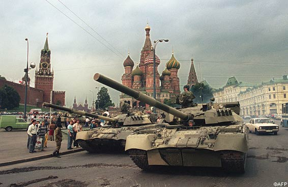 Soviet Army tanks are parked near Spassky gate, an entrance to the Kremlin and Basil's Cathedral in Moscow's Red Square
