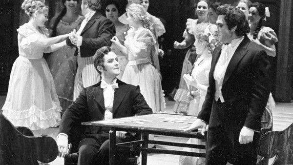 Yuri Mazurok, left, as Onegin and Vladimir Atlantov as Lensky at the Bolshoi in 1981