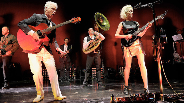 David Byrne and St Vincent on stage at the Roundhouse