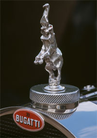 The Bugatti Type 41 Royale radiator mascot, cast in silver