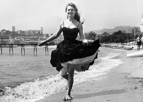 Brigitte Bardot on the beach in Cannes