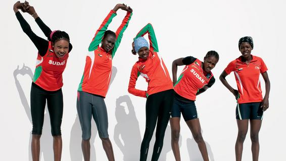 The Sudan female running team At the Arab Games