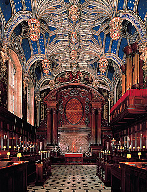 Henry VIII installed the vaulted ceiling of Hampton Court's Chapel Royal in 1535-36