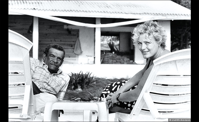 The Nobel Prize-winning poet and playwright Derek Walcott with his partner Sigrid Nama in 1994, on St Lucia, where Walcott was born