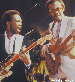 Nile Rodgers in Chic with Bernard Edwards (right) at New York's Palladium, 1979