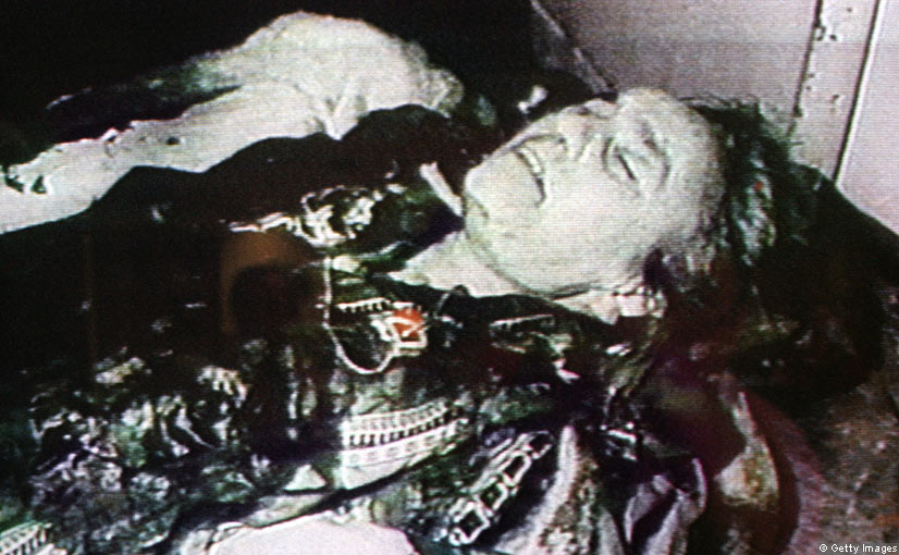 Images of the ceausescu s bullet ridden bodies are displayed on