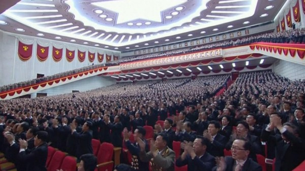 Delegates applaud during the congress in Pyongyang, North Korea, Friday May 6, 2016. North Korea on Friday opened the first full congress of its ruling party since 1980, a major political event intended to showcase the country's stability and unity under young leader Kim Jong Un despite international criticism and tough new sanctions over the North's recent nuclear test and a slew of missile launches. (KRT via AP) NORTH KOREA OUT
