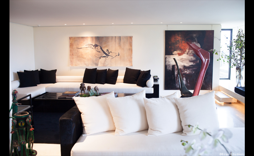 View of front room of Donna Karan's 7000 sq ft apartment