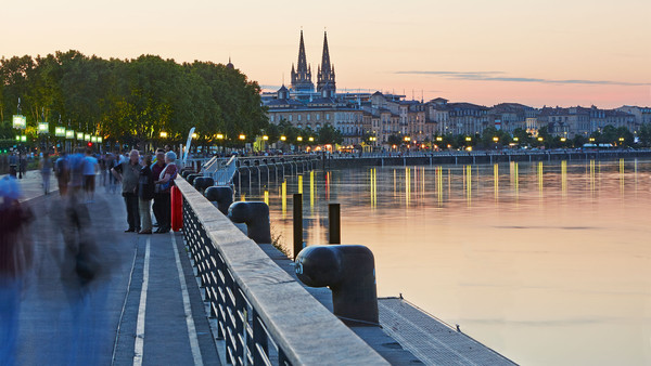 The rejuvenated riverfront along the Garonne river in central Bordeaux