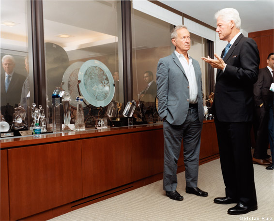 Bill Clinton with Simon Schama