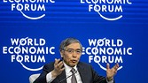 Bank of Japan's Governor Haruhiko Kuroda attends a session during the World Economic Forum (WEF) annual meeting on January 24, 2015 in Davos. AFP PHOTO / FABRICE COFFRINI (Photo credit should read FABRICE COFFRINI/AFP/Getty Images)