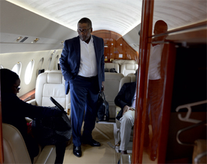 Aliko Dangote aboard one of his private jets