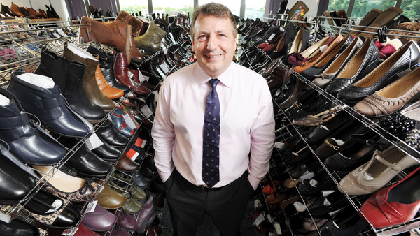 Stuart Paver, managing director of Pavers Shoes, in the sample room of the company's York headquarters.