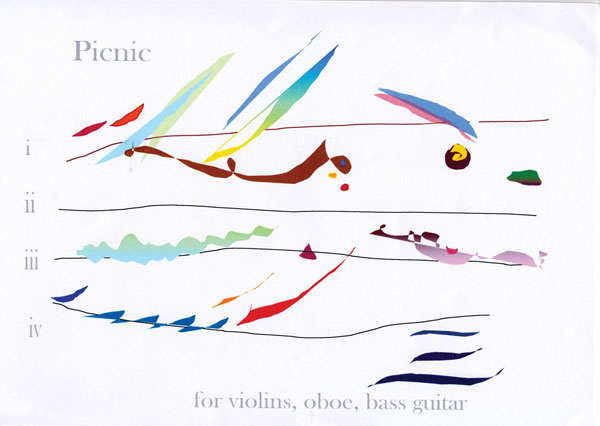 Cilla McQueen's 'Picnic' for violins, oboe and bass guitar (2006)