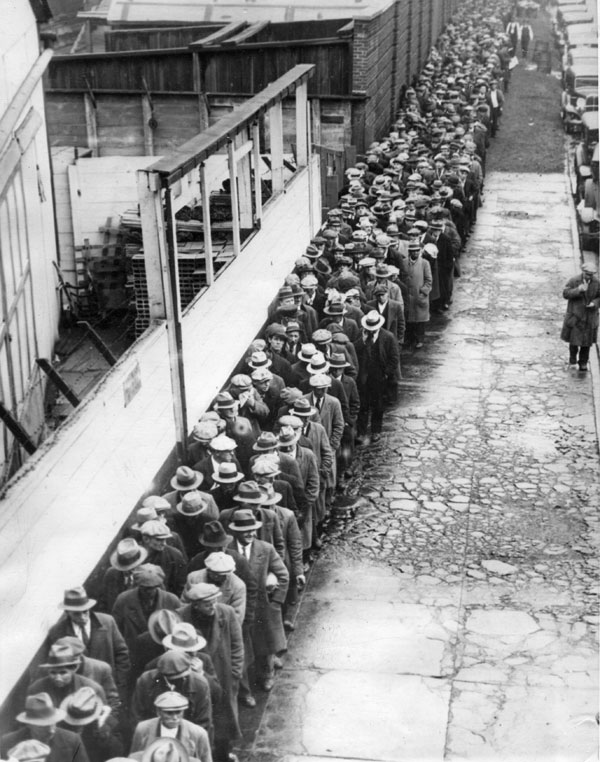 A breadline in New York City during the Great Depression, 1931