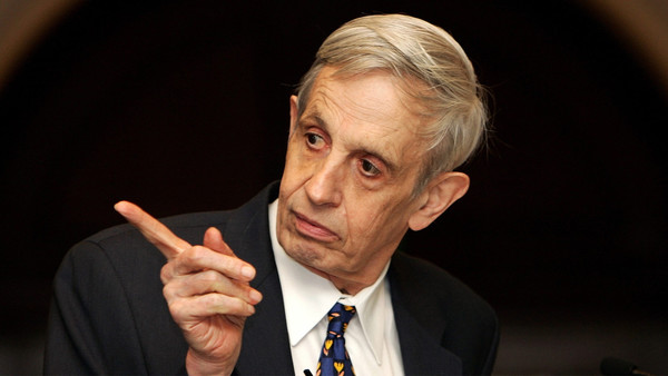 "Noble Laureate Professor John F Nash Jr. deliverS an address on "" Global Games and Globalization"" at the launch of the Nobel Laureates Lecture Series in New Delhi, 14 February 2007. The US-born Professor Nash won the Nobel Prize in Economics in the year 1994. AFP PHOTO/ MANAN VATSYAYANA"