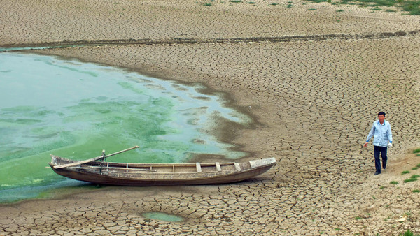 A serious drought hit Hubei over half a million people suffer from shortage of water in Yichang, Hubei, China