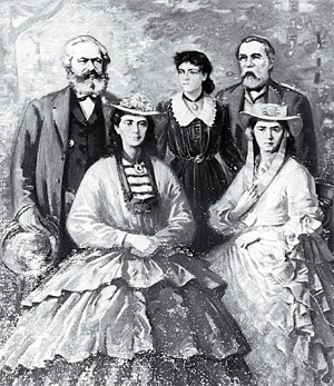 A painting of Karl Marx with his daughters (Eleanor in centre) and his friend Friedrich Engels