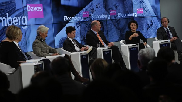"From left to right, Francine Lacqua, editor at large and anchor for Bloomberg Television, Jiang Jianqing, chairman of Industrial and Commercial Bank of China Ltd. (ICBC), Christine Lagarde, managing director of the International Monetary Fund (IMF), Fang Xinghai, vice chairman of China Securities Regulatory Commission, Gary D. Cohn, president and chief operating officer of Goldman Sachs Group Inc., Zhang Xin, billionaire and chief executive officer of Soho China Ltd., and Raymond 'Ray' Dalio, billionaire and founder of Bridgewater Associates LP, take part in the ""Where is the Chinese Economy Heading?"" panel session during the World Economic Forum (WEF) in Davos, Switzerland, on Thursday, Jan. 21, 2016. World leaders, influential executives, bankers and policy makers attend the 46th annual meeting of the World Economic Forum in Davos from Jan. 20 - 23. Photographer: Matthew Lloyd/Bloomberg *** Local Caption ***Francine Lacqua; Jiang Jianqing; Christine Lagarde; Fang Xinghai; Gary D. Cohn; Zhang Xin; Raymond 'Ray' Dalio"