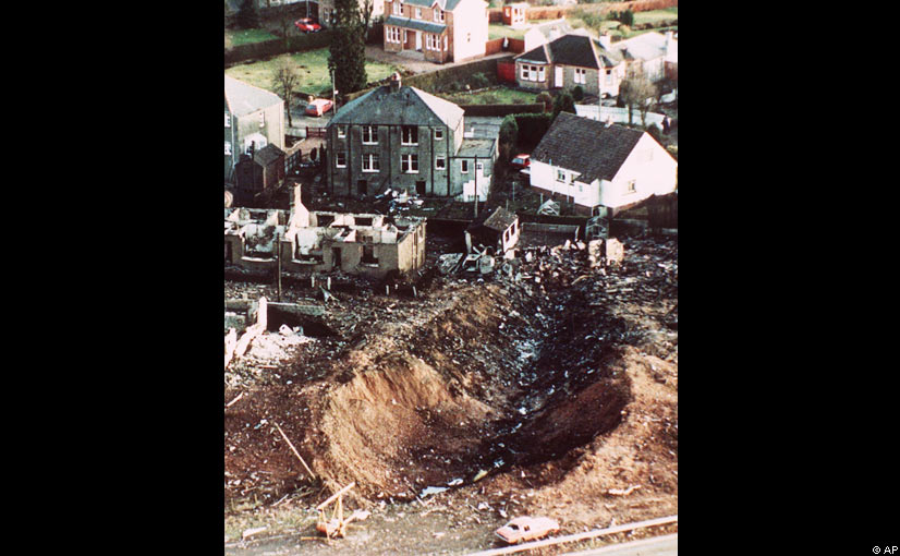 The crash scattered debris through the town, destroying houses and leaving a deep gash in the ground. Eleven residents of Lockerbie died in the disaster