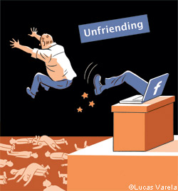 illustration of unfriending somebody at facebook
