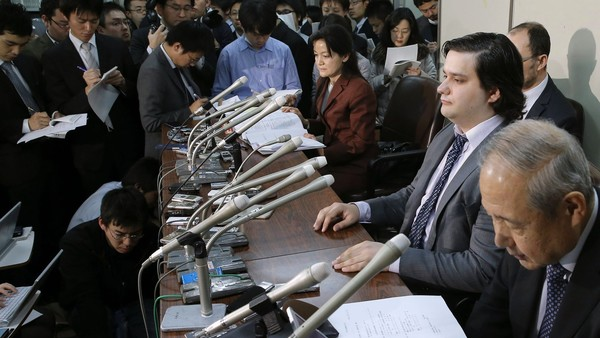 Mt Gox founder Mark Karpelès, sitting second right, was arrested in Tokyo at the weekend