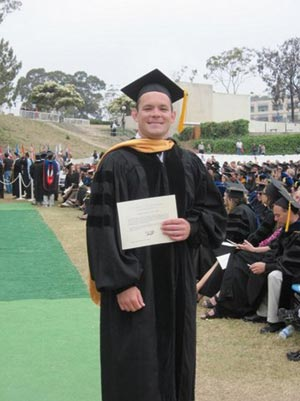 Shane at his PhD graduation in 2010 from the University of California, Santa Barbara