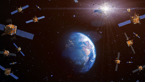An illustration of satellites surrounding Earth