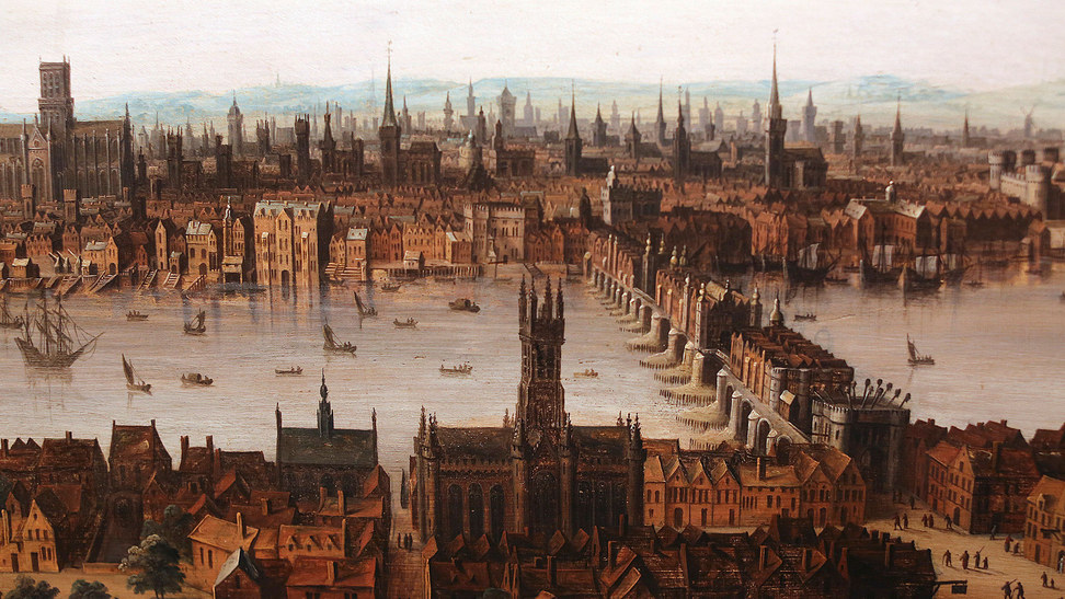 Elizabethan London: a view of the city of London including London Bridge and St Paul's