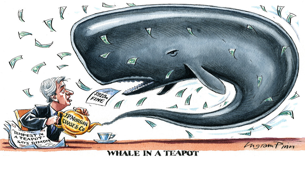 Ingram Pinn's Visual comment of the Week over the London Whale debacle, described by chief executive Jamie Dimon as 'A tempest in a teapot'