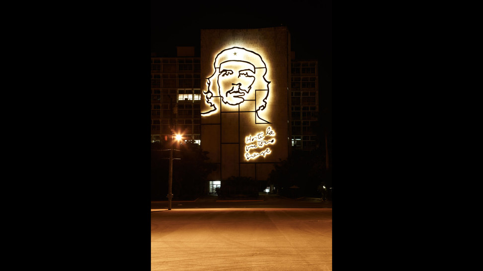 A five-storey illumination of Che Guevara in Havana's Plaza de la Revolución